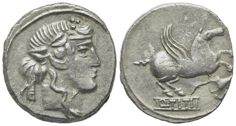 Ancient Coins - ROME REPUBLIC Q. Titius, Rome, 90 BC. AR Denarius. Head of young Bacchus. R/ PEGASUS