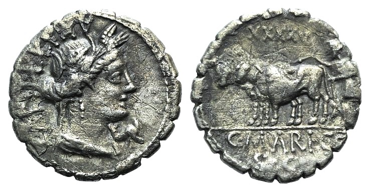 Ancient Coins - ROME REPUBLIC C. Marius C.f. Capito, Rome, 81 BC. AR Serrate Denarius