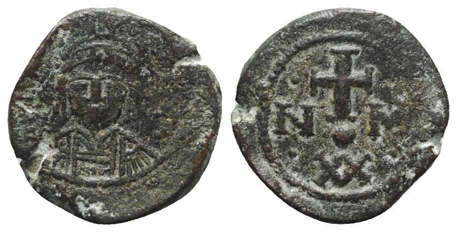 Ancient Coins - Maurice Tiberius (582-602). Æ 20 Nummi. Carthage. VERY RARE