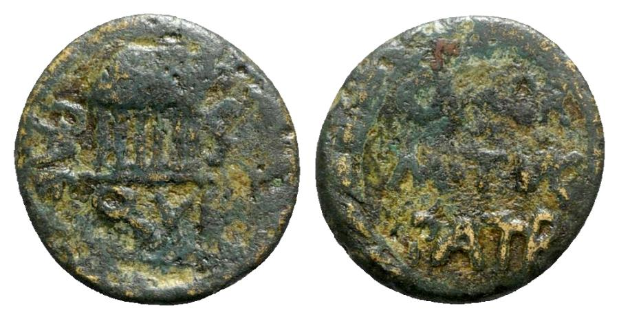 Ancient Coins - Northern Lucania, Paestum, 2nd century BC. Æ Semis - Temple / Legend in wreath