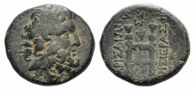 Ancient Coins - Seleukis and Pieria, Larisa on the Orontes. Æ 19mm, dated 93/2 BC.  R/ Throne of Zeus RARE