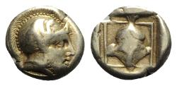 Ancient Coins - Lesbos, Mytilene, c. 412-378 BC. EL Hekte – Sixth Stater - Ares / Helmet
