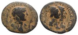 Ancient Coins - Trajan (98-117). Phoenicia, Tripolis. Æ Dichalkon - R/ Dioscuri