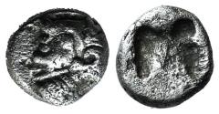 Ancient Coins - Ionia, Kolophon, late 6th century BC. AR Tetartemorion. Archaic head of Apollo
