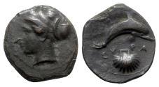Ancient Coins - Sicily, Syracuse, c. 415-405 BC. Æ Hemilitron - Arethusa / Dolphin