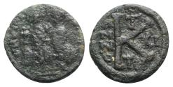 Ancient Coins - Justin II and Sophia (565-578). Æ 20 Nummi - Thessalonica, year 11