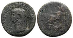 Ancient Coins - Nero Claudius Drusus (died 9 BC). Æ Sestertius. Rome, 42-3. c/m: N CAPR within rectangular incuse
