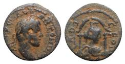 Ancient Coins - Elagabalus (218-222). Seleucis and Pieria, Laodicea ad Mare. Æ 17mm. R/ Turreted and draped bust of Tyche