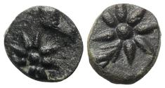 Ancient Coins - Pontos, Uncertain, c. 130-100 BC. Æ 10mm. Head of horse, with star of eight points R/ Comet star