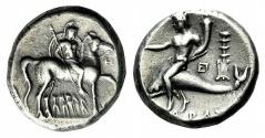 Ancient Coins - CALABRIA, Tarentum. Circa 272-240 BC. AR Nomos
