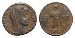 Ancient Coins - Divus Constantine I (died 337). Æ Follis. Antioch, 347-8. R/ Constantine veiled