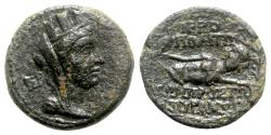 Ancient Coins - Cilicia, Hierapolis, 2nd-1st century BC. Æ - Tyche / River-god Pyramos