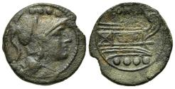 Ancient Coins - ROME REPUBLIC Anonymous, Sardinia, after 211 BC. Æ Triens. R/ Prow of galley