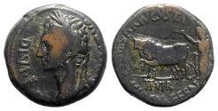Ancient Coins - Augustus (27 BC-AD 14). Spain, Caesaraugusta. Æ As - L. Cassius and C. Valerius Fene., duoviri