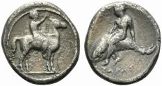 Ancient Coins - ITALY. Southern Apulia, Tarentum, c. 385-380 BC. AR Nomos. Nude youth on horse standing R/ Phalanthos riding dolphin