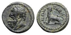 Ancient Coins - Caria, Tabae. Pseudo-autonomous issue, c. 2nd-3rd century AD. Æ - Herakles / Lion - RARE