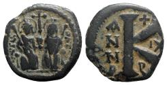 Ancient Coins - Justin II and Sophia (565-578). Æ 20 Nummi - Antioch, year 11