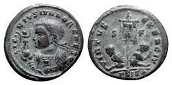 Ancient Coins - Licinius II (Caesar, 317-324). Æ Follis - Siscia - R/ Standard with captives