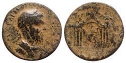Ancient Coins - Macrinus (217-218). Uncertain mint. Æ - R/ Temple