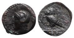 Ancient Coins - Sicily, Kamarina, c. 410-405 BC. Æ Tetras - Athena / Owl