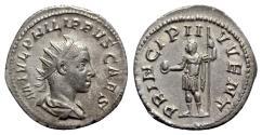 Ancient Coins - Philip II (Caesar, 244-247). AR Antoninianus - Rome - R/ Philip I with captive