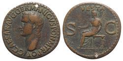 Ancient Coins - Gaius (Caligula). AD 37-41. Æ As. Rome mint. Struck AD 37-38. R/ VESTA