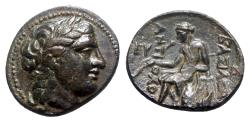 Ancient Coins - Seleukid Kings, Antiochos II (261-246 BC). Æ - Head of Apollo / Apollo Delphios