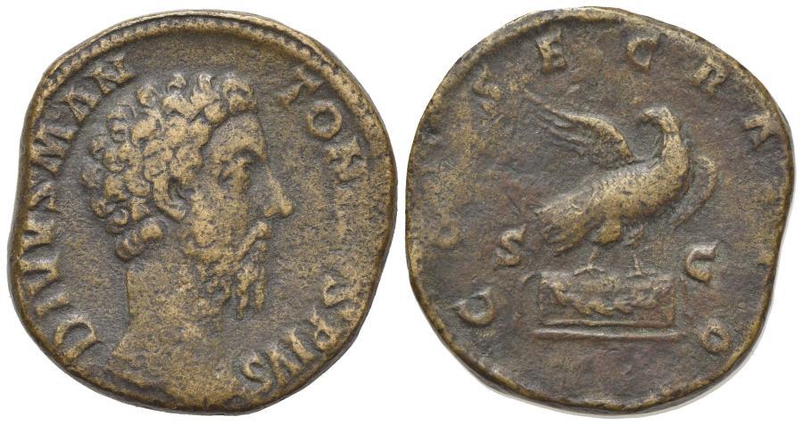 Ancient Coins - Divus Marcus Aurelius (died AD 180). Æ Sestertius. Rome, AD 180. R/ EAGLE