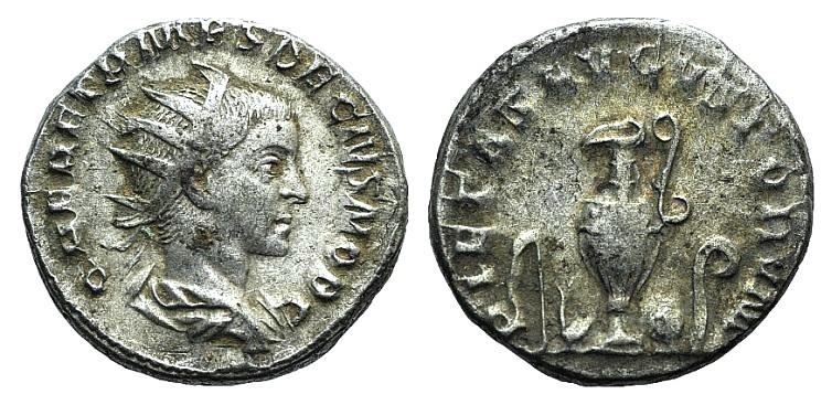 Ancient Coins - Herennius Etruscus. As Caesar, AD 249-251. AR Antoninianus R/ Sprinkler, simpulum, jug, patera, and lituus