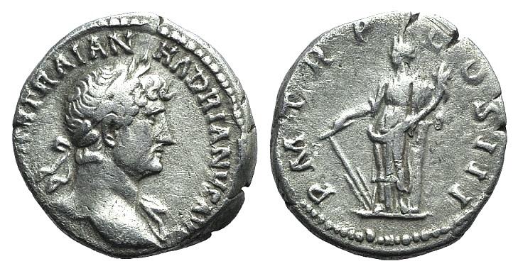 Ancient Coins - Hadrian (117-138). AR Denarius. Rome, c. 122-125.  R/ Fortuna