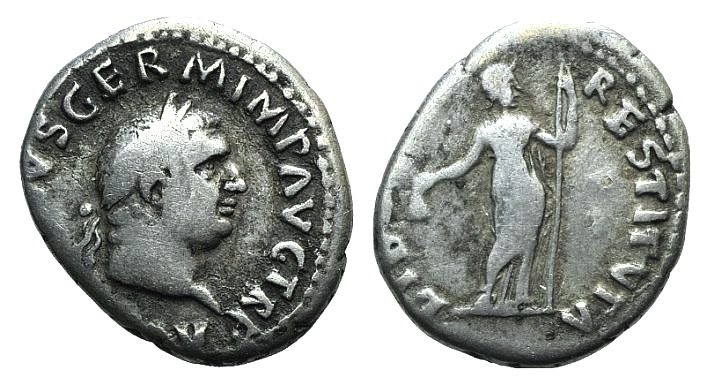 Ancient Coins - Vitellius. AD 69. AR Denarius. Rome mint. Struck circa late April-20 December. R/ Libertas