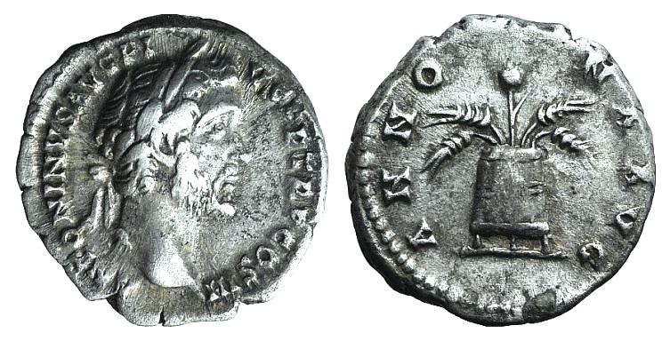 Ancient Coins - Antoninus Pius (138-161). AR Denarius. Rome, c. 141-3. R/ MODIUS