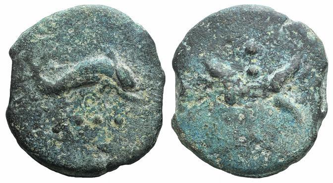 Ancient Coins - Rome Republic. Anonymous. Circa 280 BC. AE Aes Grave Triens Thunderbolt / Dolphin