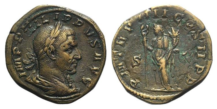 Ancient Coins - Philip I (244-249). AE Sestertius. Rome, 247.  R/ Felicitas