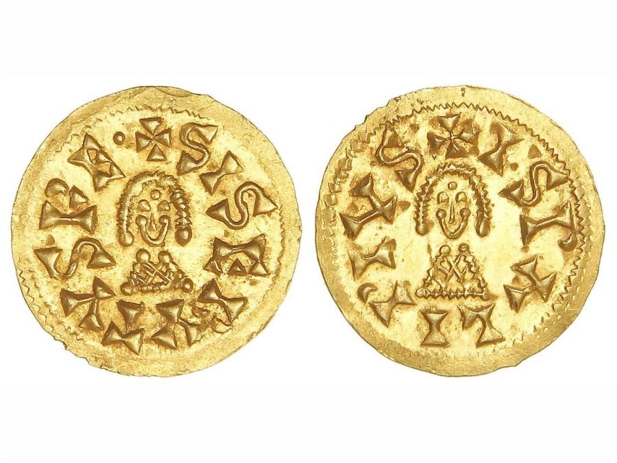 World Coins - VISIGOTHS, Spain. Sisebut. 612-621. AV Tremissis. Ispalis (Seville) mint.  EXTREMELY FINE
