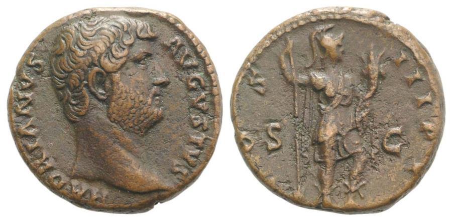 Ancient Coins - Hadrian (117-138). Æ As. Rome, c. 132-5.  R/ Roma
