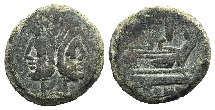 Ancient Coins - Rome Republic Anonymous, Rome, after 211 BC. AE As. Laureate head of Janus.