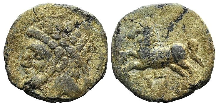 Ancient Coins - KINGS of NUMIDIA. Massinissa or Micipsa. 203-148 BC or 148-118 BC. PB Unit with Punic letters MN  VERY RARE