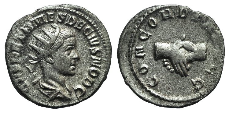 Ancient Coins - Herennius Etruscus (Caesar, 249-251). AR Antoninianus. Rome, 251.  R/ Clasped hands.
