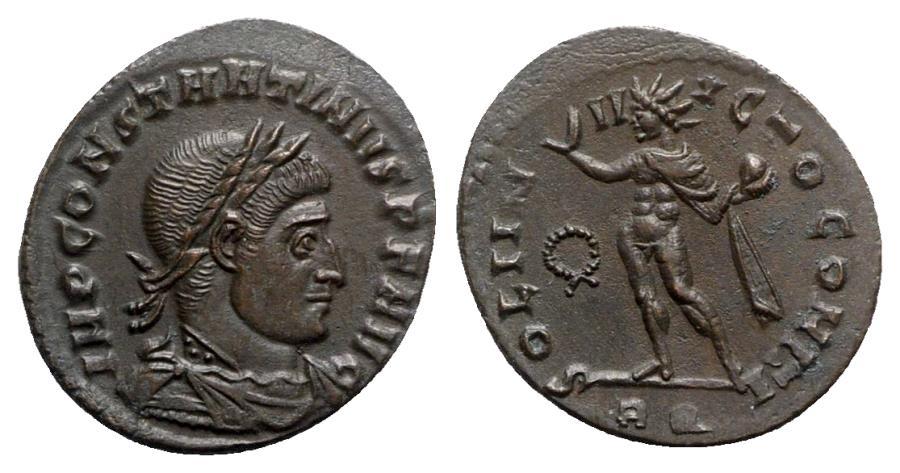 Ancient Coins - Constantine I (307/310-337). Æ Follis - Rome - R/ Sol