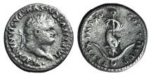 Titus (79-81). AR Denarius. Rome, AD 80. R/ Dolphin coiled around anchor