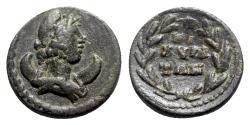 Ancient Coins - Phrygia, Cibyra. Pseudo-autonomous issue, time of the Antonines, c. 138-192. Æ - Mên / Legend in wreath