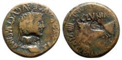Ancient Coins - Tiberius (14-37). Spain, Clunia. Æ As - R/ Bull
