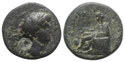 Ancient Coins - Nero (54-68). Cilicia, Anazarbus. Æ Hemiassarion, year 86 (67/8).  c/m: head. R/ Boule seated