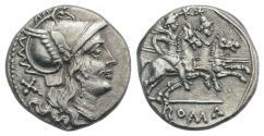 Ancient Coins - Rome Republic Anonymous, Rome, after 211 BC. AR Denarius