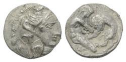 Ancient Coins - Southern Apulia, Tarentum, c. 380-325 BC. AR Diobol