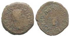 Ancient Coins - Tiberius (14-37). Spain, Graccuris. Æ Semis. R/ Bull's head facing VERY RARE