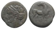 Ancient Coins - Carthage, 215-201 BC. Æ Shekel. Head of Tanit  R/ Horse