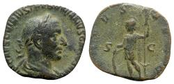 Ancient Coins - Trebonianus Gallus (251-253). Æ Sestertius - Rome - R/ Virtus