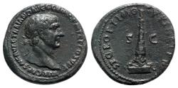 Ancient Coins - Trajan (98-117). Æ As - Rome - R/ Column